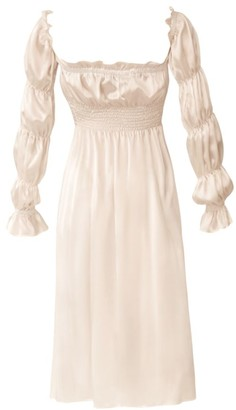 Sleeper Michelin Ruched Long-Sleeve Silk Dress