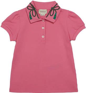 Gucci Puffy Sleeve Polo Shirt w/ Collar Detail, Size 4-12
