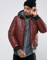 Asos Quilted Bomber Jacket with Hood in Burgundy