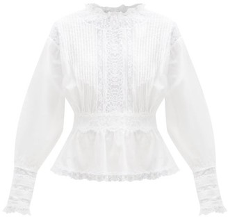 Dolce & Gabbana Lace-trimmed Pintucked Cotton-blend Voile Blouse - White