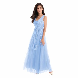 IWEMEK Women's Bridesmaids Double V-Neck Lace Tulle Appliques Sleeveless Wedding Evening Cocktail Prom Gowns Long Maxi Party Dress Light Blue UK 8