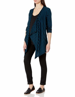 Three Seasons Maternity Women's Maternity Long Sleeve Stripe Drape Cardigan