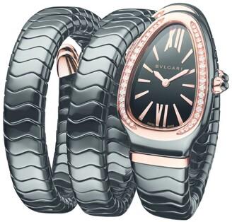 Bvlgari Rose Gold, Black Ceramic and Diamond Serpenti Spiga Watch 35mm