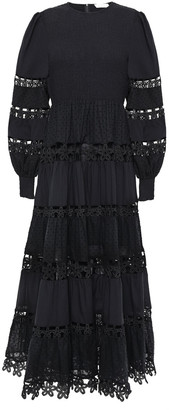 Zimmermann Primrose Daisy Lace-paneled Shirred Plumetis Midi Dress