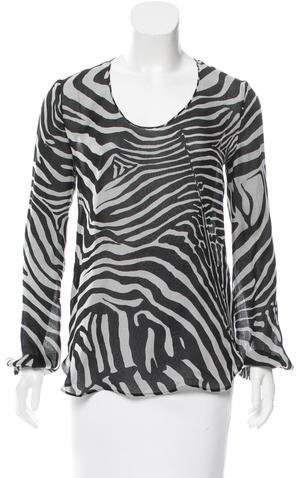 Tom Ford Silk Zebra Print Top