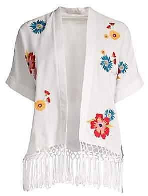 Carolina K. Women's Anita Floral Embroidered Fringe Kimono