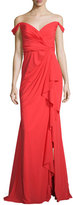 Badgley Mischka Off-the-Shoulder Stretch Silk Sweetheart Gown, Poppy