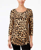JM Collection Petite Leopard-Print 3/4-Sleeve Top, Only at Macy's