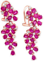 Effy Ruby (7-1/4 ct. t.w.) and Diamond (3/4 ct. t.w.) Earrings in 14k Rose Gold