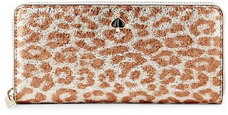 Kate Spade Metallic Leopard-Print Slim Continental Wallet