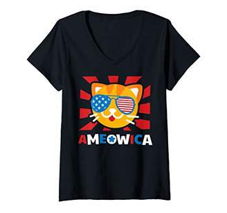 Womens Ameowica America Cat Funny 4th Of July Independence Day Gift V-Neck T-Shirt
