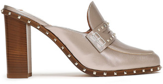 Valentino Studded Metallic-leather Mules