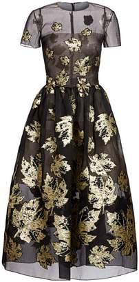 Oscar de la Renta Metallic Leaf Jacquard Tulle A-Line Dress