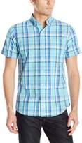 Izod Men's Short Sleeve Seaport Poplin Plaid Shirt