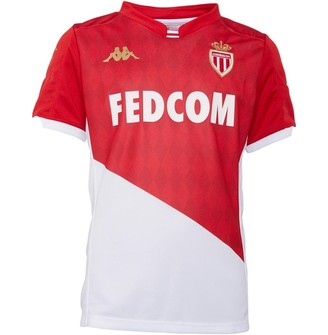 Kappa Junior Boys AS Monaco Kombat Home Jersey Red/White