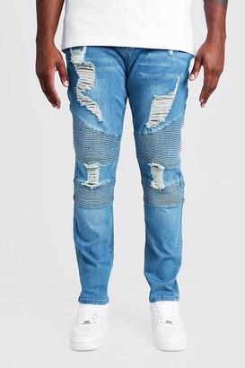 boohoo Mens Blue Plus Size Skinny Fit Biker Jean Extreme Rips, Blue