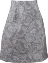 Oscar de la Renta Floral Demask Jacquard Skirt