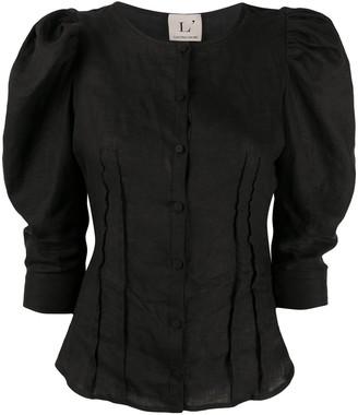 L'Autre Chose Puff-Sleeves Buttoned Blouse
