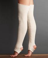 Lemon Legwear Women's Leg Warmers WHITE - White Sand Wool-Blend Ballerina Stirrup Leg Warmers - Women