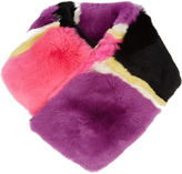Diane von Furstenberg Striped rabbit-fur scarf