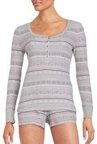 Lord & Taylor Printed Thermal Long-Sleeve Shirt and Shorts Pajama Set