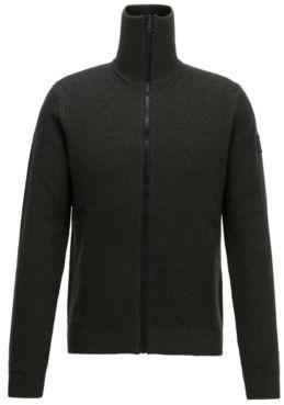 Zip-through knitted jacket in ribbed virgin wool