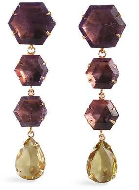 Bounkit Gold-Tone Amethyst And Quartz Earrings