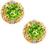Gem Stone King 0.42 Ct Round Green Peridot and White Diamond 14k Yellow Gold Earrings