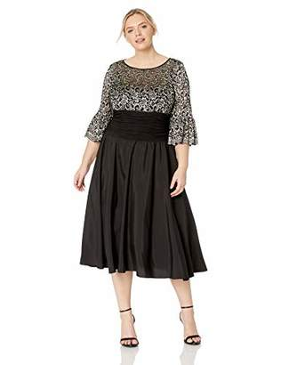 Jessica Howard Plus Size Womens Bell Sleeve Dress with Illusion Neckline