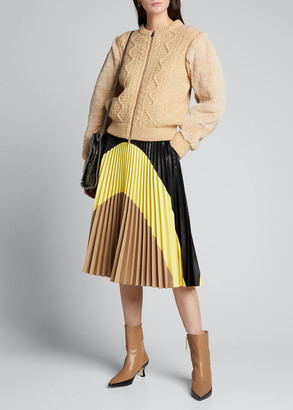 Stella McCartney Carmen Colorblocked Pleated Faux-Leather Skirt