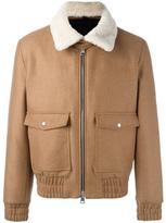 Ami Alexandre Mattiussi zipped bomber jacket shearling collar - men - Cotton/Sheep Skin/Shearling/Polyamide/Wool - XS