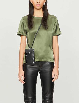 Maje Round-neck silk-satin T-shirt