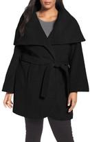 Tahari Plus Size Women's Marla Cutaway Wrap Coat With Oversize Collar