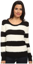 Vince Camuto TWO by Jersey Stripe Eyelash Yarn Pullover
