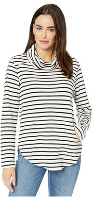 Mod-o-doc Collegiate Stripe Cowl Neck Tunic with Kangaroo Pocket