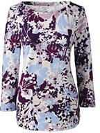 Classic Womens Tall 3/4 Sleeve Art T-Shirt-Weathered Grape Floral