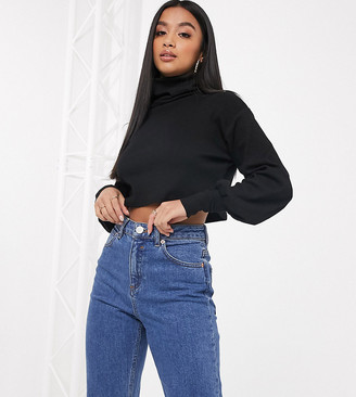 Asos DESIGN Petite relaxed crop top with slouchy roll neck in soft rib in black