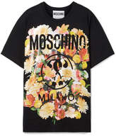 Moschino Printed Cotton-jersey T-shirt - Black