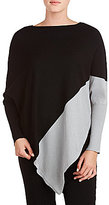 Peter Nygard Crew Neck Asymmetric Hem Poncho Sweater