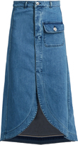 See by Chloe Curved-hem stretch-denim skirt