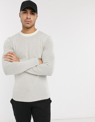 ASOS DESIGN muscle fit long sleeve waffle t-shirt in beige