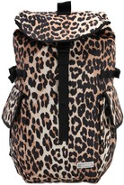 Ganni Leopard Printed Nylon Backpack