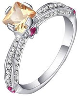 Acme Women Rhinestone Inlaid Gold Plated Ring Copper Crystal Wedding Ring Gift