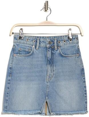 AllSaints Lila Grommet Waist Denim Mini Skirt