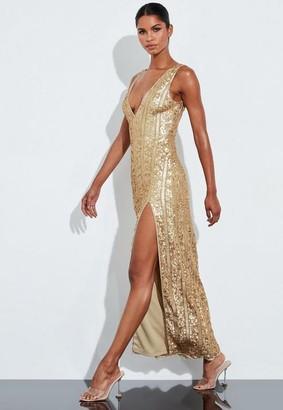 Missguided Gold Plunge Embellished Split Maxi Dress