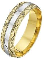 Theia His & Hers 14ct Yellow and White Gold Two-Tone 6mm Serrated and Zig Zag Groove Wedding Ring - Size U