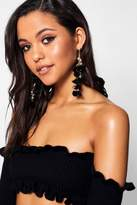 boohoo Lilly Pom and Tassel Statement Earrings