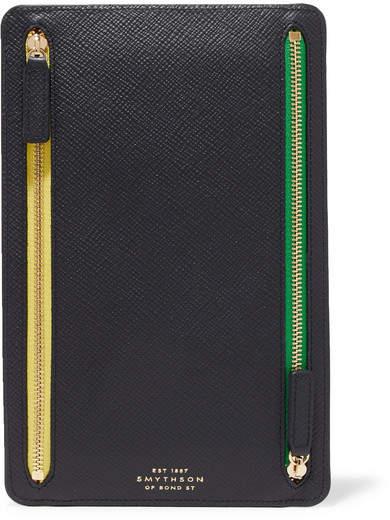 Smythson Panama Textured-leather Wallet - Navy