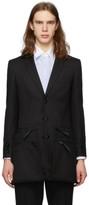 Burberry Black Twill Slim Fit Zip Panel Blazer