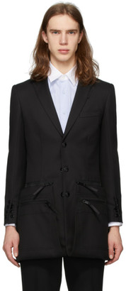 Burberry Black Twill Slim Fit Zip Panel Blazer
